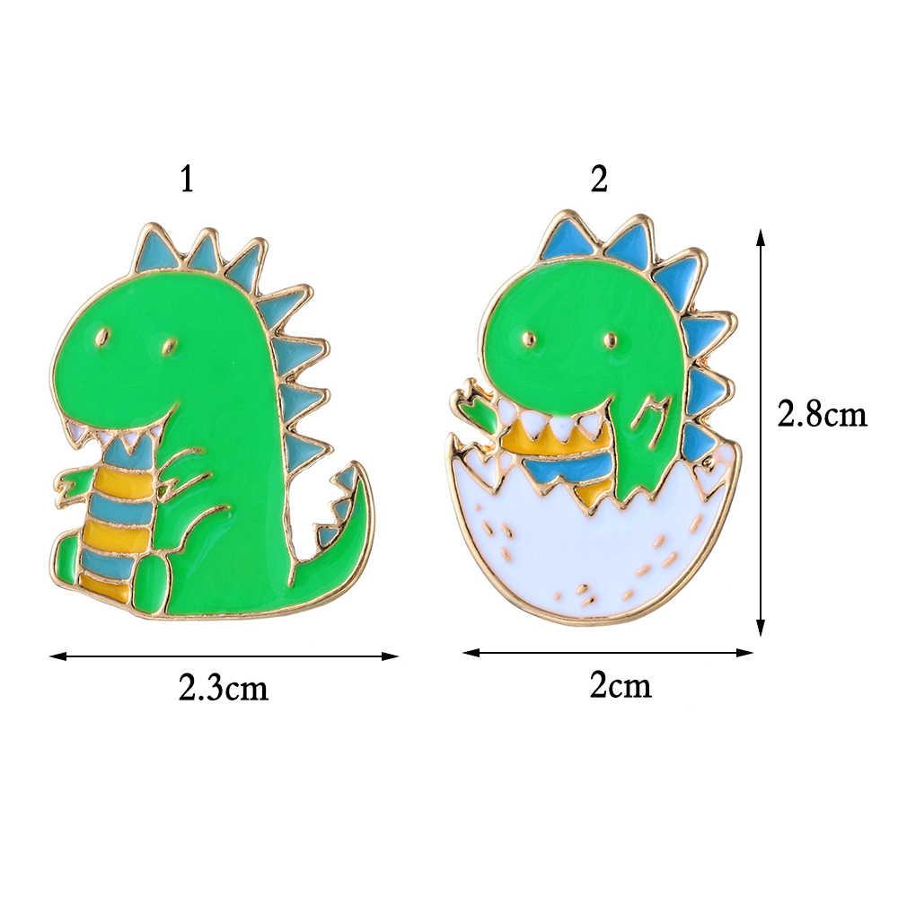 Lucu Kartun Kulit Telur Dinosaurus Bros untuk Wanita Pria Kreatif Hijau Hewan Pin Perhiasan Enamel Pin Ransel Tas Aksesoris
