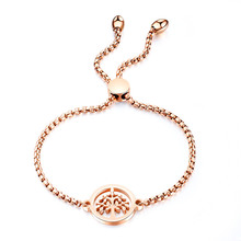 Hollow Tree of Life Rose Gold Color Bangle Bracelet For Women Stainless Steel Box Chain Cuff Hand Jewelry Gift Dropshipping hollow tree of life stainless steel colorful earrings