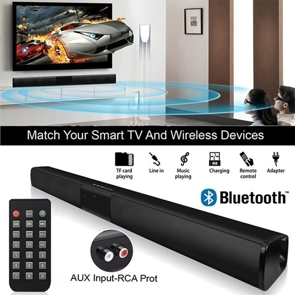 20W Wireless Bluetooth Speaker BS-28B Soundbar Stereo Surround Sound TV Home Theater Soundbar Subwoofer with Audio Cable