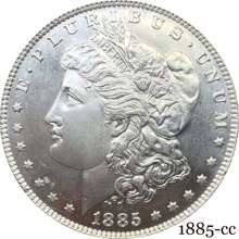 Estados unidos da américa 1885 cc morgan um dólar eua moeda liberdade cupronickel prata chapeado em deus confiamos cópia moeda