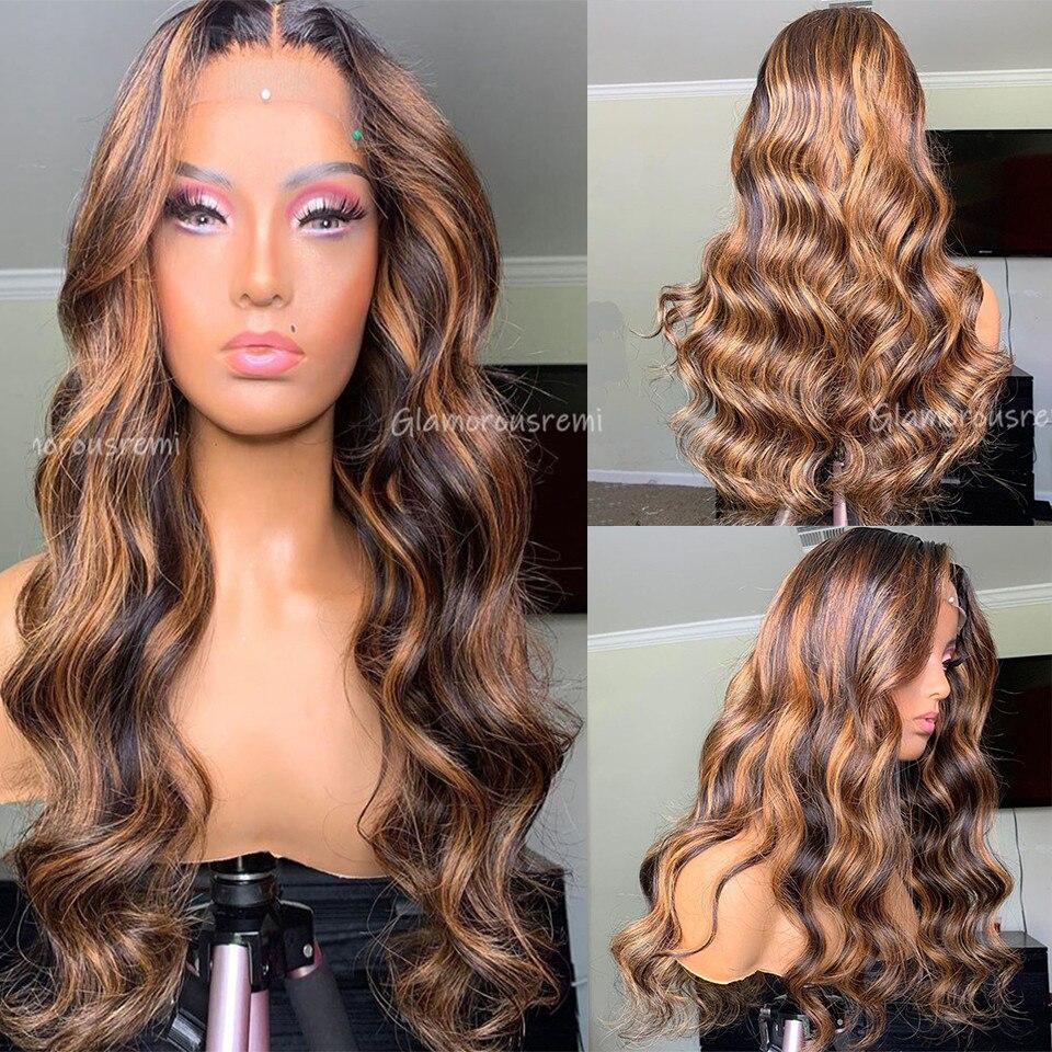 Brésilien corps vague dentelle avant perruques de cheveux humains avec des cheveux de bébé T partie miel blond mettre en évidence perruques Remy densité de cheveux 150 pour femme