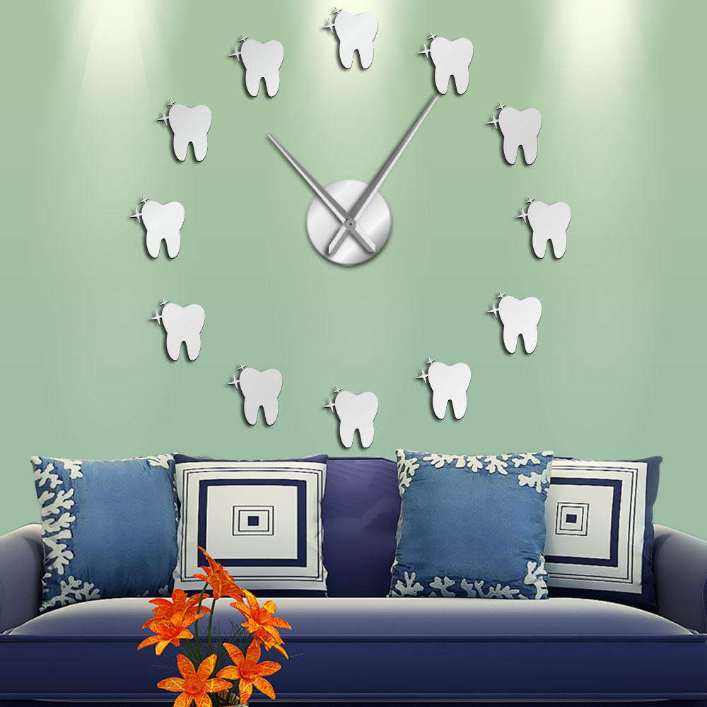 12 Teeth Sticker Dental Tooth Wall Art Modern Wall Clock Living Room Decorative Wall Watch Nurse Ornament Hygienist Dentist Gift(China)