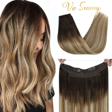 VeSunny Remy Halo Hair Extensions 100% Real Human Hair Invisible Wire Hair Extensions
