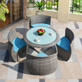 Outdoor table and chairs, rattan furniture, table and chairs, outdoor balcony, leisure coffee table, five-piece set, rattan chai
