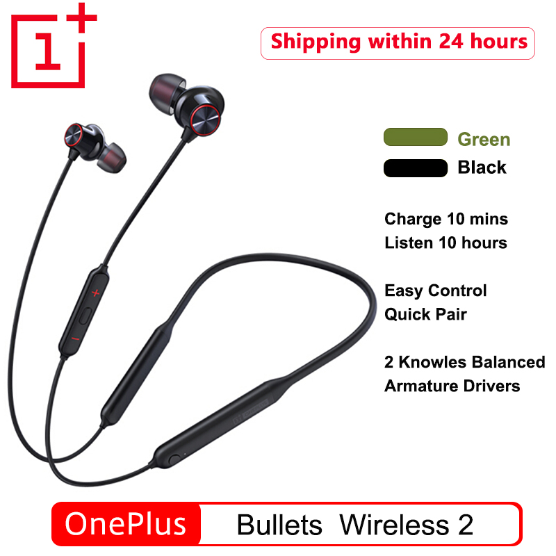 Original OnePlus Bullets Wireless 2 Bluetooth Magnetic Control Mic In Ear Earphone Hybrid AptX Fast Charge For Oneplus 7T Pro 6T