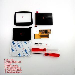 Image 3 - V2 IPS شاشة LCD أطقم ل GBA الخلفية شاشة LCD 10 مستويات السطوع LCD V2 شاشة ل GBA وحدة التحكم و قبل قطع قذيفة