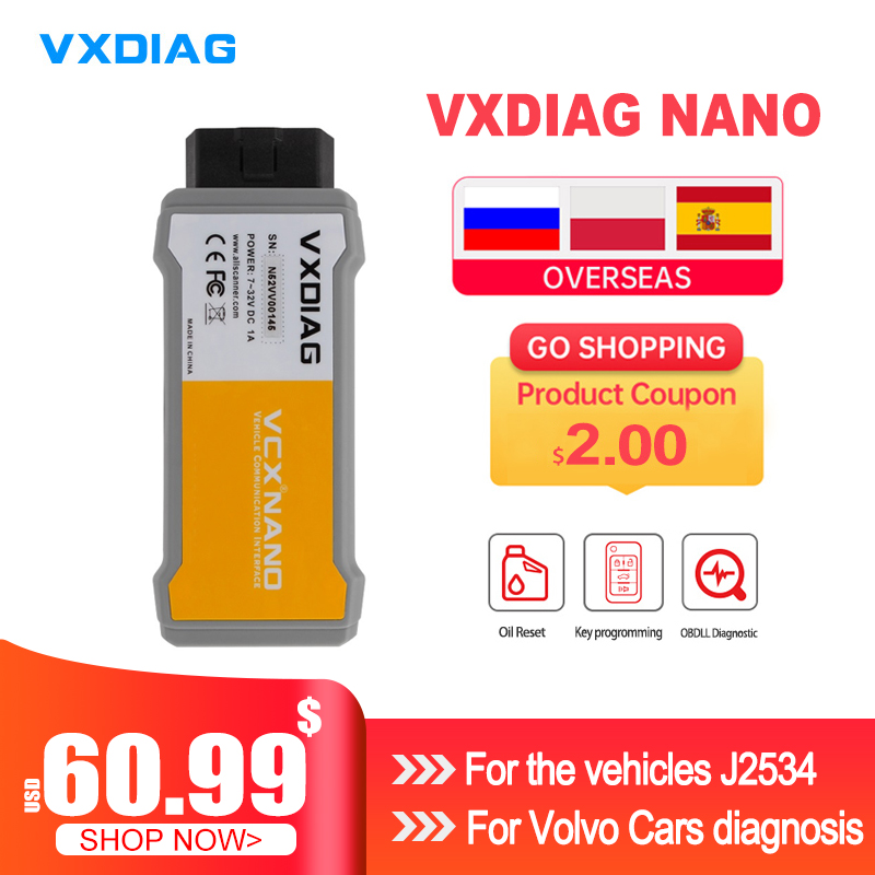 Диагностический инструмент VXDIAG VCX NANO для Volvo, многоязычный инструмент для диагностики автомобиля