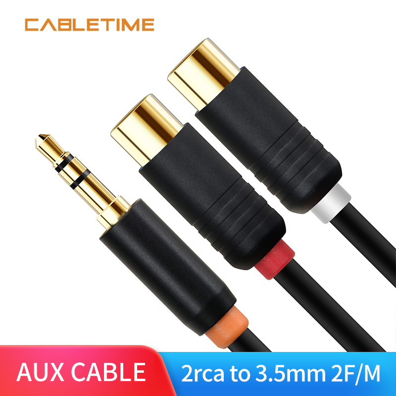Cabletime Female 2 RCA To 3.5mm Jack Audio Cable RCA Audio Splitter Cable For Stereo Amplifier Home Theater DVD N145