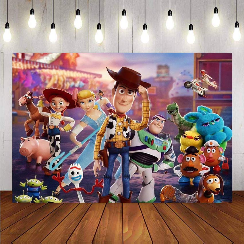 Photography Backdrops Cartoon Toy Story Candy Customize Children Birthday Party Decor Photocall Backdrop Photo Studio Banner