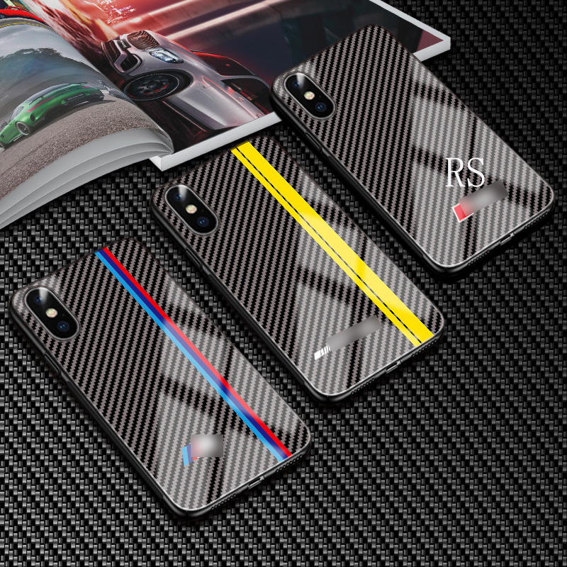 Gehärtetem Glas Auto <font><b>Logo</b></font> Fall für <font><b>IPhone</b></font> 7 8 6s Plus Telefon Fall Carbon Fiber Handy Fall für <font><b>IPhone</b></font> 11 pro max Xs XR X Fall image