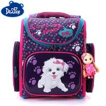 Delune School Bags For Girls Boys New 3D Flower Pattern Cartoon Backpack Children Orthopedic Backpacks Primary Mochila Infantil