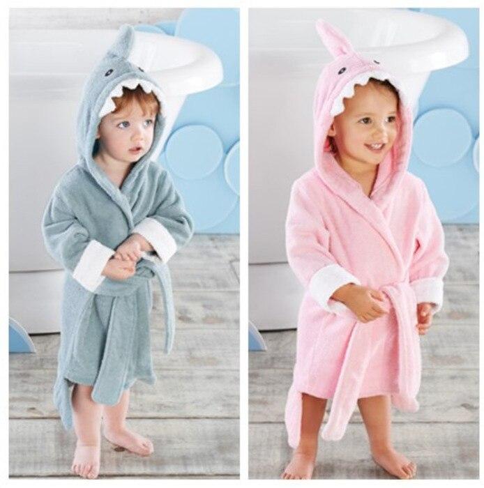 Medium Large Size Shark CHILDREN'S Bathrobes Baby Bathrobe Bath Towel Cartoon Modeling Mantle Beach Bath Towel