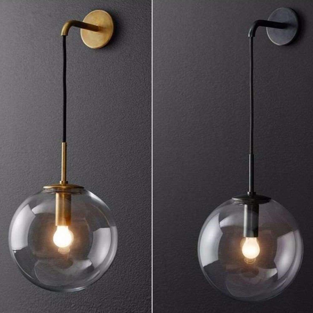 nordico moderno do vintage conduziu a lampada de parede redonda bola vidro espelho do banheiro ao