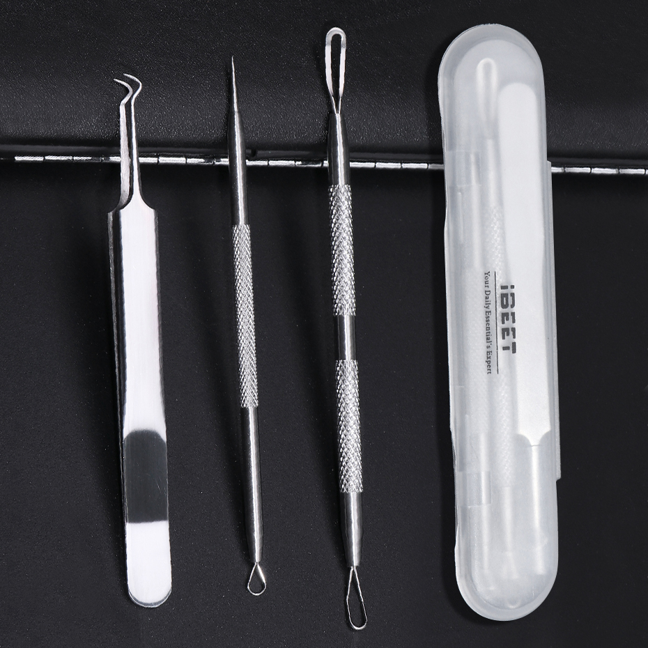 3pcs Acne Remover Toolkit Blackhead Pimple Cleaning Needles Comedones Squeezing Tweezers Facial Kit Beauty Care Tools BEMP01