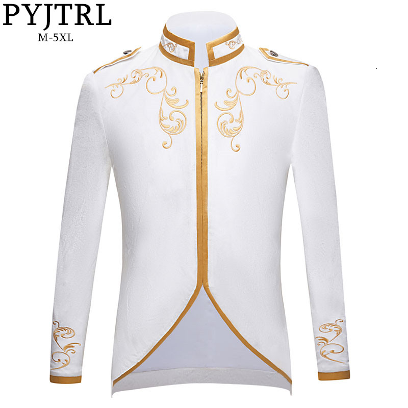PYJTRL New British Style Royalty Prince Pure White Velvet Gold Embroidery Blazer Wedding Groom Slim Fit Suit Jacket Singers Coat