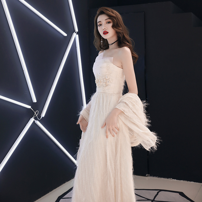 2020 Limited Gengli Evening Dress Women's 2020 New Noble Banquet Long Sexy Autumn Bridesmaid Show Thin Celebrity Temperament