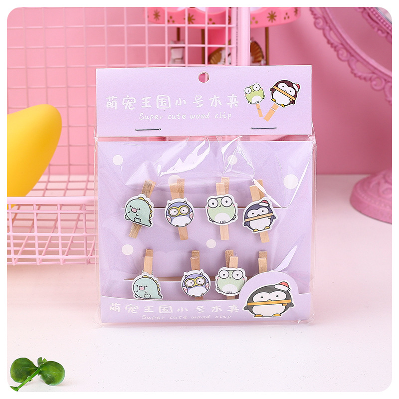 8 Pcs/Pack Cute Animal Kingdom Wooden Clip Dinosaur Owl DIY Photo Clips Clothespin Craft Party Decoration Clip