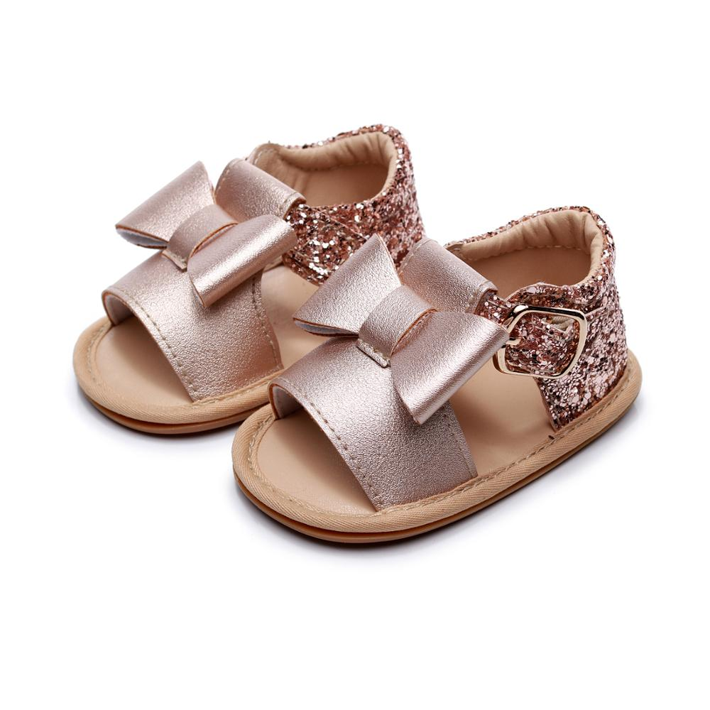 2020 Summer Baby Sandals Crystal  Princess Sandals Bowknot Sequins Baby Girls Hard Sole Sandals Newborn Princess Shoes