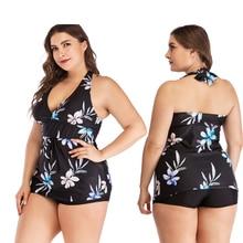цена на Plus Size 5XL Print Tankini Set Large Big Plus size Swimwear Women Swimsuit Tankini Set Two Piece Split Bodysuit Straps 2019