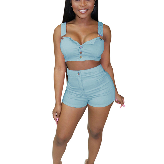 Adogirl Women Fashion Jeans Two Piece Set Buttons Spaghetti Straps Crop Top + Skinny Shorts Sexy Casual Denim Suit Club Outfits 5