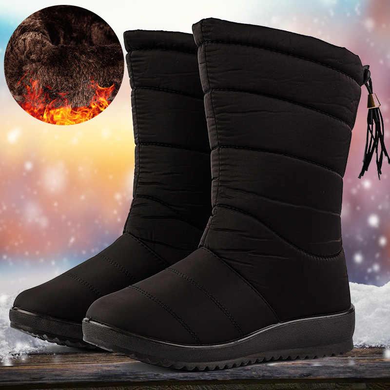 Püskül çizmeler kadın kış sıcak çizmeler kadın su geçirmez kar botları bayanlar orta buzağı aşağı ayakkabı peluş astarı Botas Mujer invierno