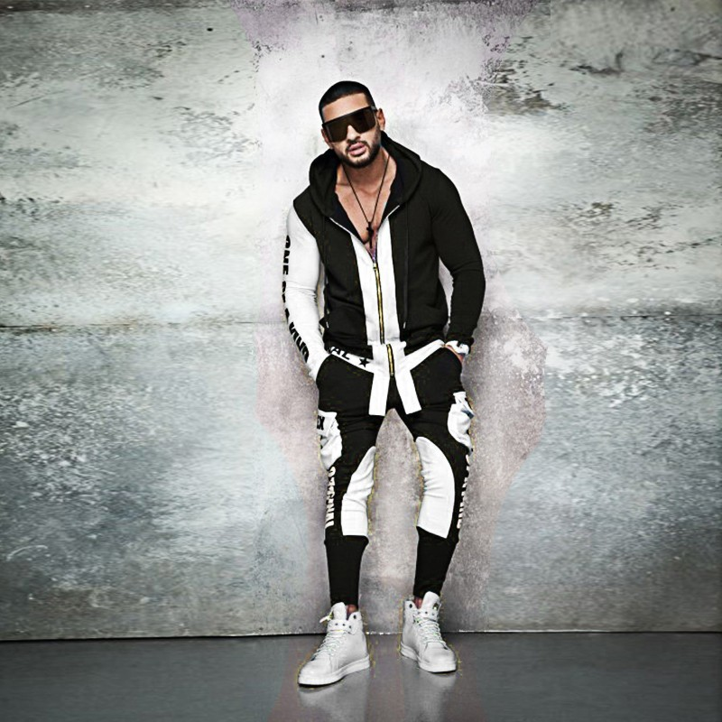 ZOGAA Tracksuit Mens Autumn Streetwear Fashion Hoodies Sweatpants Sweatsuit Letter Patchwork Zipper 2 of Sets Casual Slim Suits
