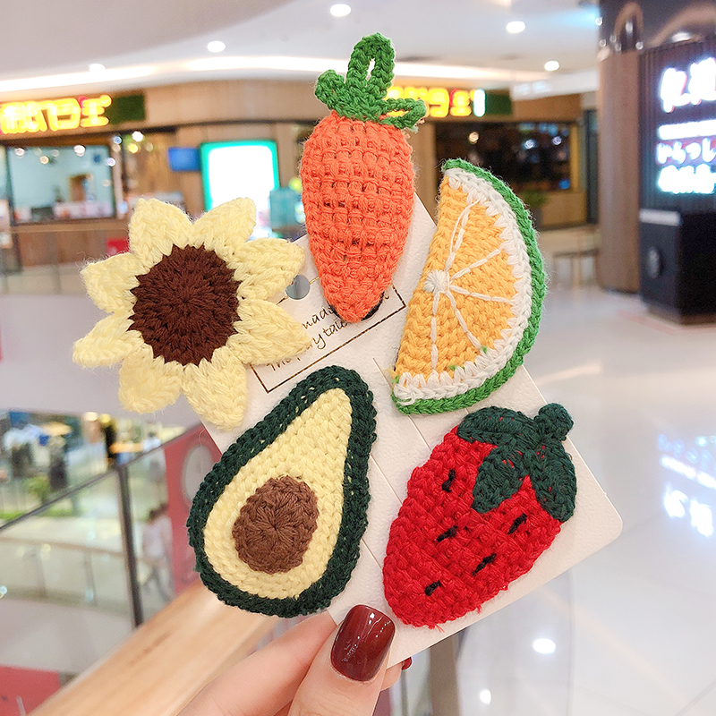 2020 Winter New Knitted Wool Fruit Hairpins Girls Children Kids Hair Clips Pin Barrettes Accessories Hairclip Hairgrip Headwear