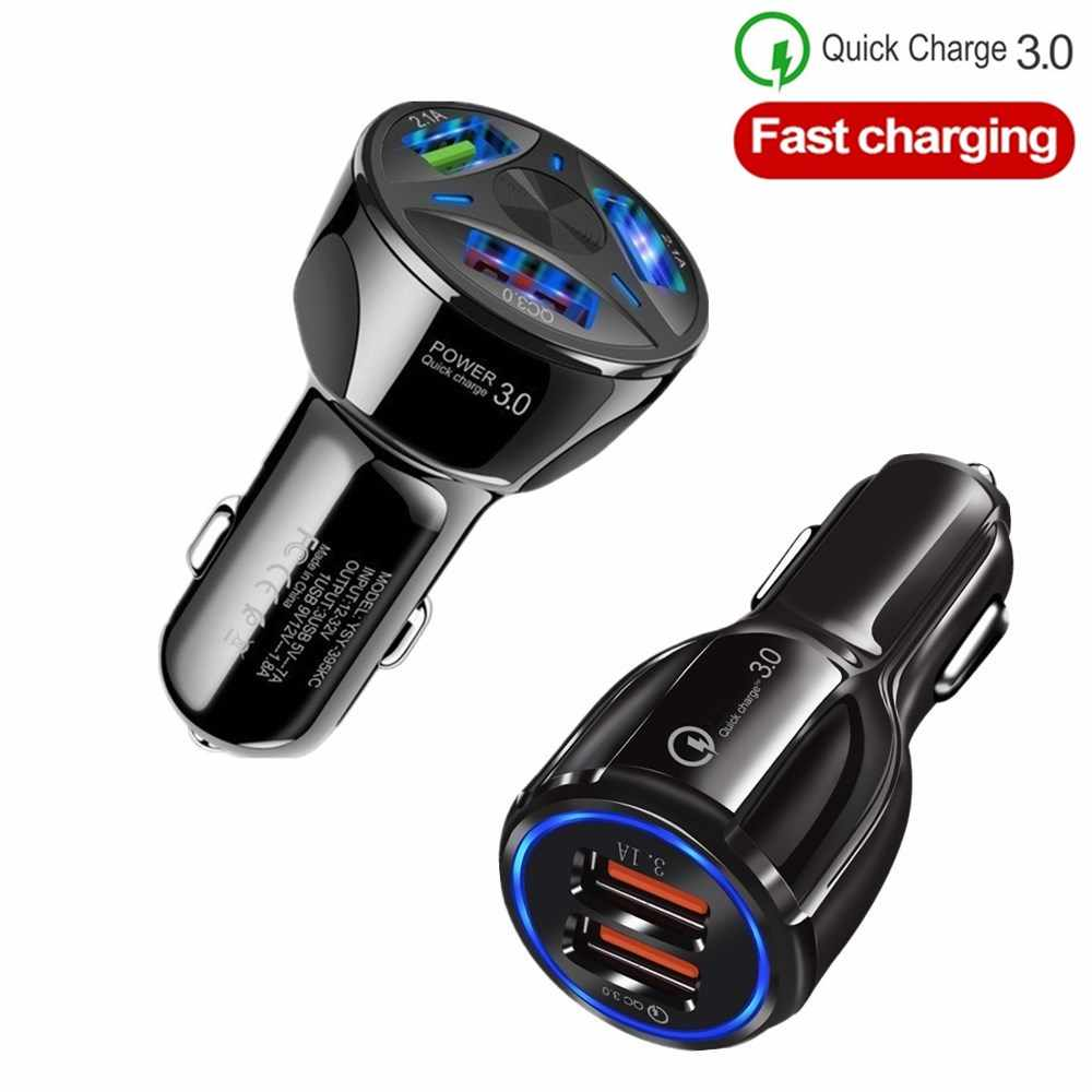 Quick Charge 3.0 Fast Charging 3 Port USB Car Charger Mobile Phone Car-charger Adapter For iphone 8 X ipad Xiaomi Samsung Huawei