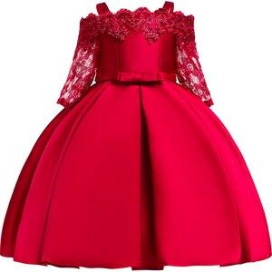 Атласное платье с блестками для девочек, рождественское платье с расклешенными рукавами для девочек, пышные Детские платья из тюля для дево...