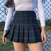 Fashion Harajuku Tartan Pink Women Skirt Sexy Plaid Pleated Skirts Fannic Mini Side Button High Waist Womens Casual