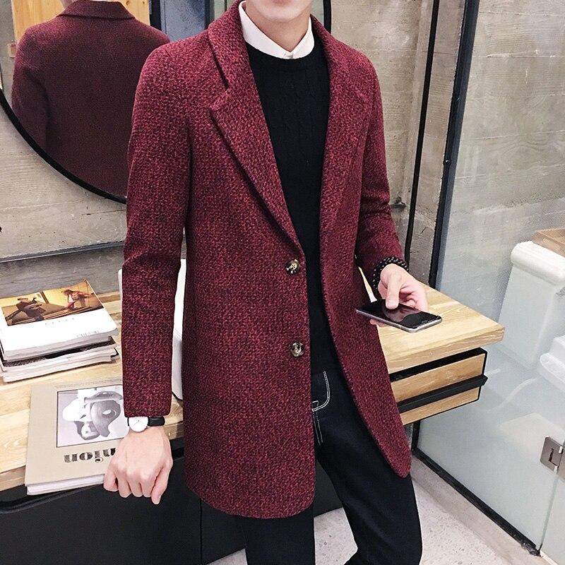 Модное мужское шерстяное пальто в клетку зимняя облегающая шерстяная верхняя
