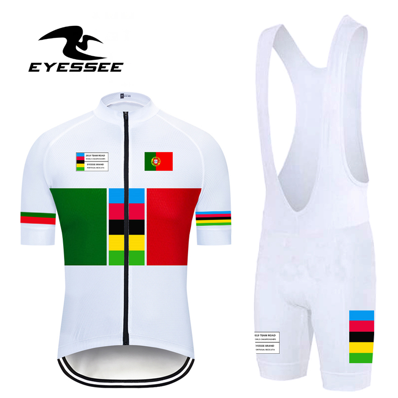 2019 Pro Portugal Cycling Clothing Breathable Men Competition Cycling Jersey Suit Summer EYESSEE Team Bicycle Clothing