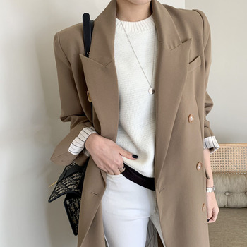 Office Lady Double Breasted Women Long Blazer Notched Collar Spring Jackets Autumn Female Outerwear Elegant