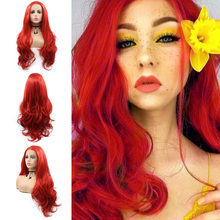цена на Long Red Color Wavy Lace Front Wigs for Women Fashion Sexy Wavy Glueless Half Hand Tied Synthetic Wig Heat Resistant Fiber Hair