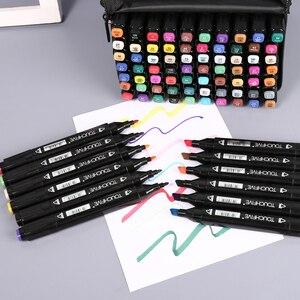 Image 4 - TOUCHFIVE 80 marcadores de colores Manga, rotuladores de dibujo a base de Alcohol, boceto, punta de fieltro, pincel doble oleoso, suministros de arte para estudiantes