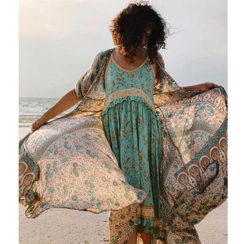 BOHO INSPIRED Vintage Turquoise Strappy Dress Frill Panel Gypsy Summer Dresses V-neck Sleeveless Chic Beach Dress Women 2019