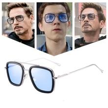 luxury Two pair Avengers Tony Stark Flight Style Man Sunglasses Men Square Brand