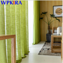 Tulle Curtains Screens-Blinds Bedroom Green Simple Window Modern for Living Big Belly