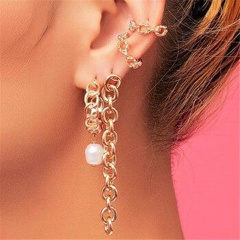 DUOHAN 2020 nueva Alta Costura Artificial perla cadena corona Brincos pendientes para las mujeres Boho pendiente regalo de fiesta, joyería al por mayor