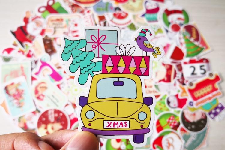 Купить с кэшбэком Christmas 100Pcs Not Repeat Luggage Computer Skateboard Car Motorcycle Graffiti Adhesive Paper Waterproof Wholesale TZC09G