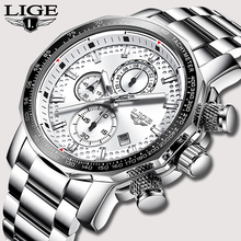 LIGE Stainless Steel Men Watch Top Brand Luxury Fashion Business Big Dial Sport Waterproof Date Watches Mens Relojes Para Hombre цена 2017