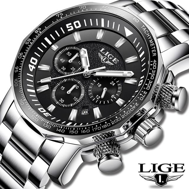 2020 LIGE Top Brand Luxury Mens Watches Full Steel Watch Male Military Sport Waterproof Watch Men Quartz Clock Relogio Masculino 2