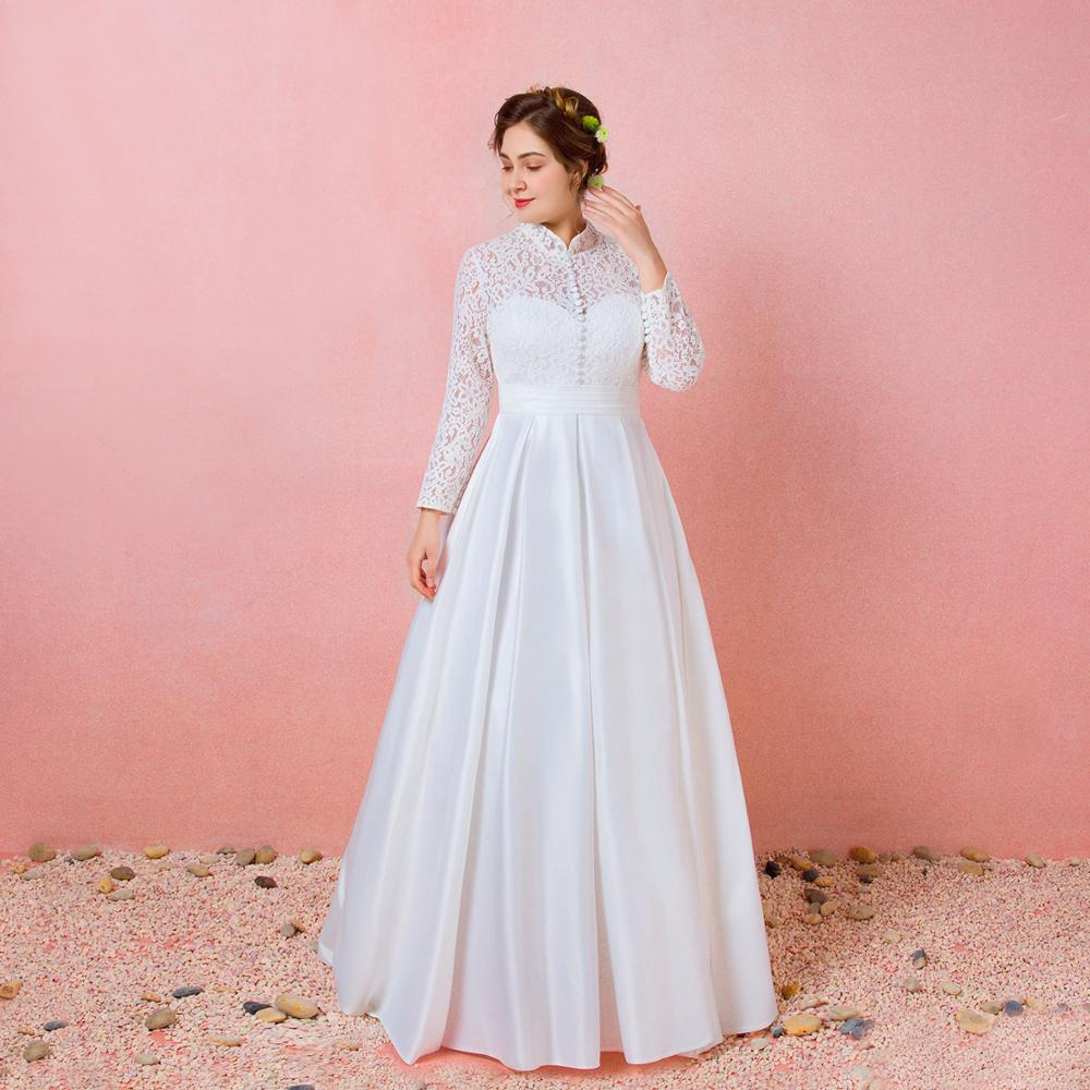 A-line Floor-Length Winter Wedding Dress 2019 Graceful Satin Lace Long Sleeves Button Dress Lace-up Backless For Party
