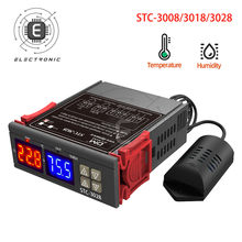 STC-3008 3018 3028 Dual Digital Regolatore di Temperatura Igrometro C/F Termostato Incubatrice Due Relè di Uscita 110V 220V 12V 24V