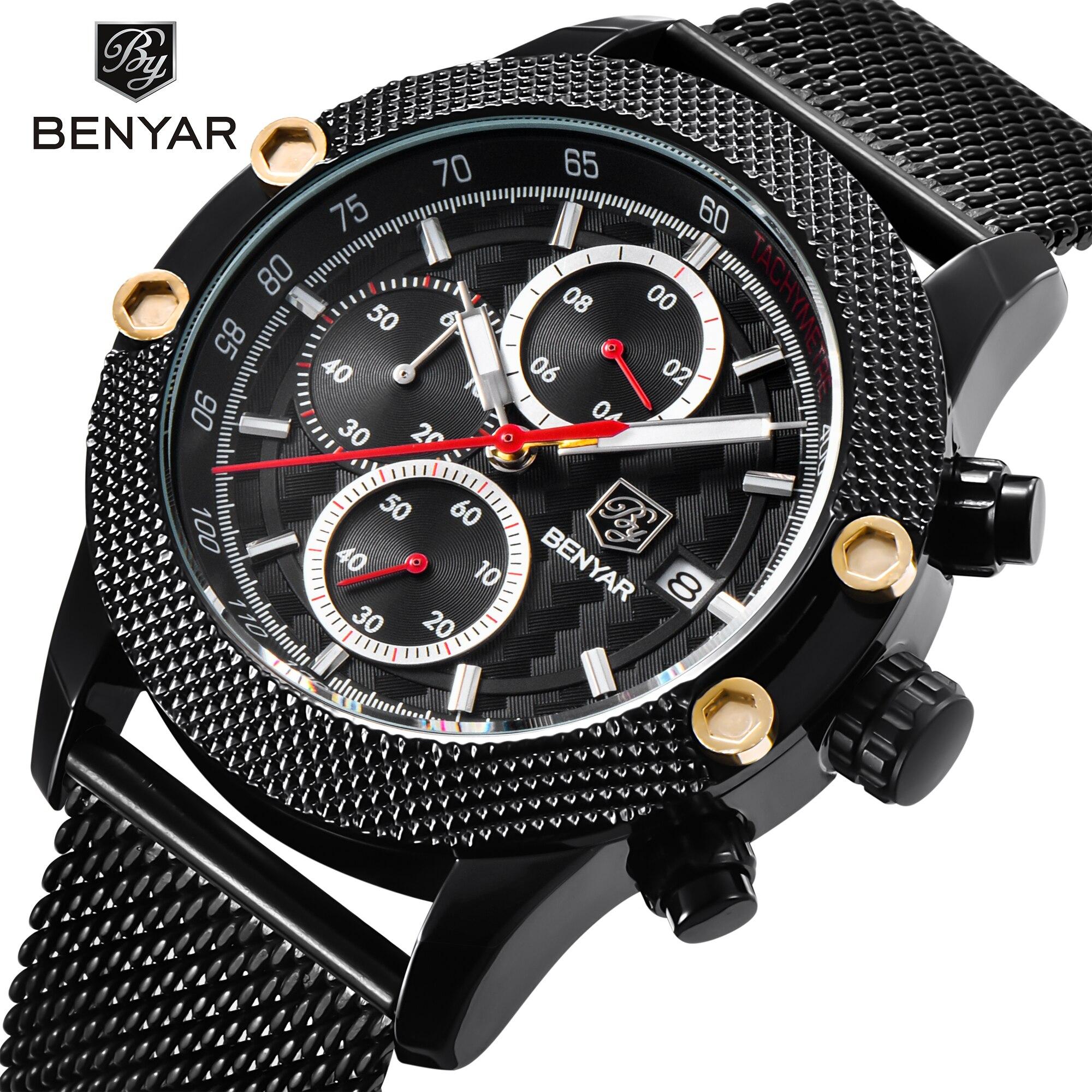 BENYAR новые модные черные мужские кварцевые часы люксовый бренд водонепроницаемые спортивные наручные часы из нержавеющей стали повседневн...
