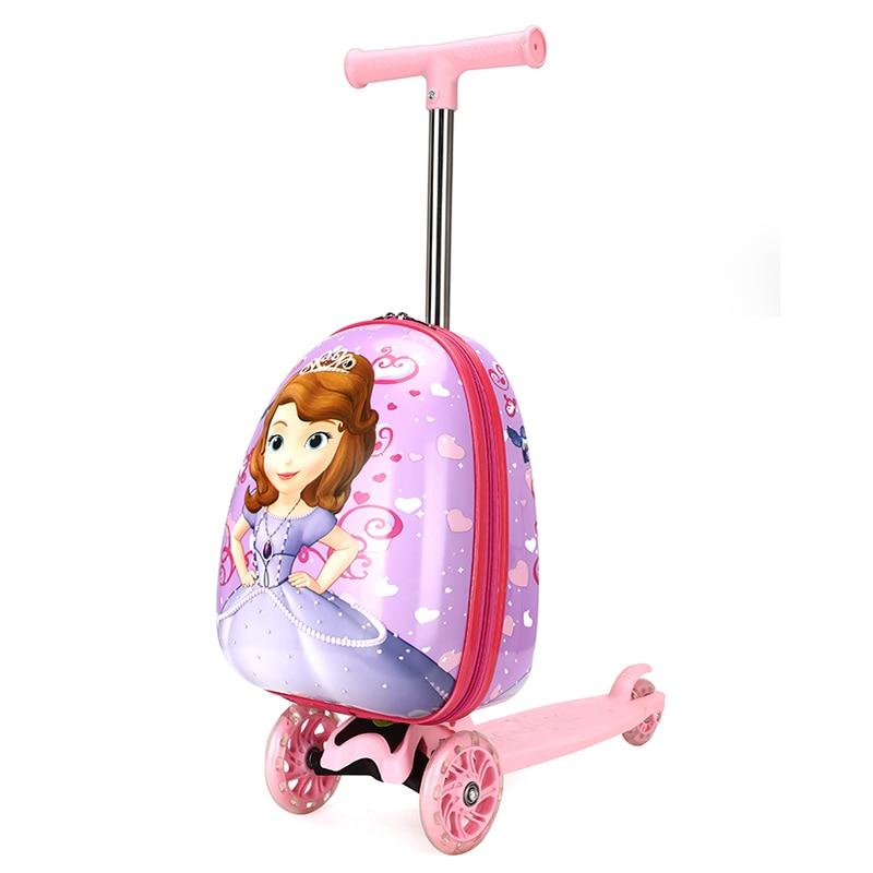Valise de voyage sur roues enfant scooter valise skateboard boîtier de chariot paresseux sac à bagages pour enfants bande dessinée roulant boîte à bagages