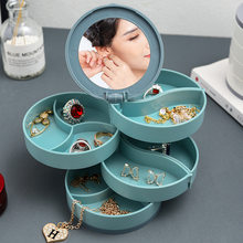Storag Container Organizer Multilayer Rotating Plastic with Mirror Jewelry Storage Earrings Ring Cosmetics Beauty Jewelri Box