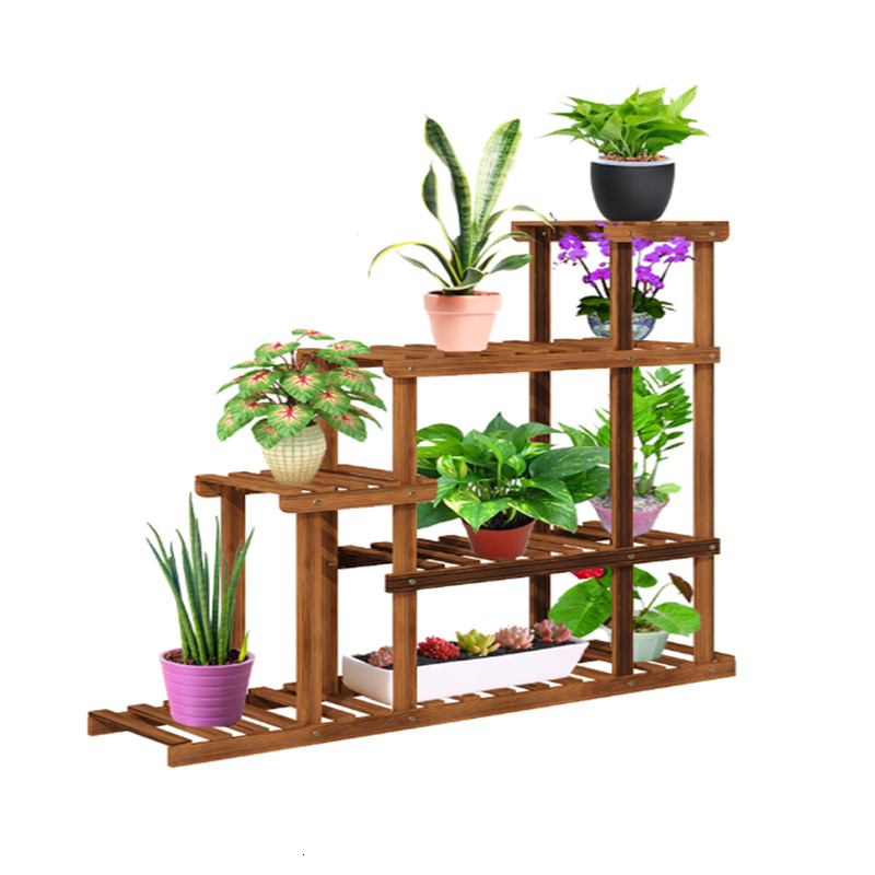 Anticorrosive Solid Wood Flower Airs Indoor To Ground Ladder Shelf Household Flowerpot Rack