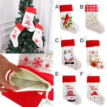 Candy Socks Bag Merry Christmas Plush Tree Hanging Gift Candy Large Socks Decoration Adorable cartoon Printed children gift Bag(China)