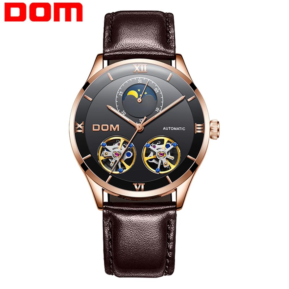 DOM Mechanical Watch Men Skeleton Watch Automatic Mechanical Mens Genuine Leather Watches Waterproof Self-winding Clock  mens